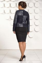 """Комбинированая кожаная куртка синего цвета """"chanel"""". Фото 2."""