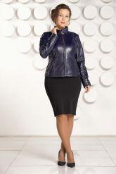 """Комбинированая кожаная куртка синего цвета """"chanel"""". Фото 3."""