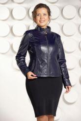"""Комбинированая кожаная куртка синего цвета """"chanel"""". Фото 4."""