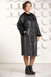 Красивое кожаное пальто черного цвета. Фото 1.