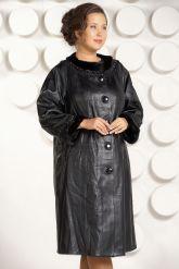 Красивое кожаное пальто черного цвета. Фото 3.