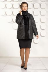 Утепленная кожаная куртка черного цвета. Фото 1.