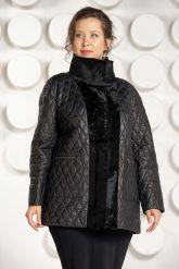 Утепленная кожаная куртка черного цвета. Фото 2.