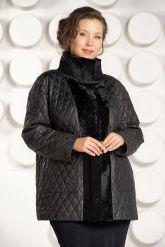 Утепленная кожаная куртка черного цвета. Фото 3.