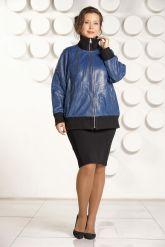 Кожаная куртка больших размеров на резинке. Фото 1.