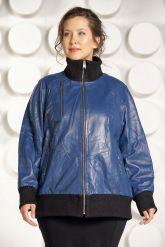 Кожаная куртка больших размеров на резинке. Фото 2.