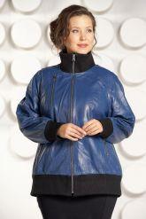 Кожаная куртка больших размеров на резинке. Фото 3.