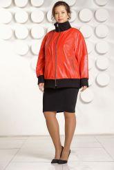 Кожаная куртка красного цвета больших размеров. Фото 3.
