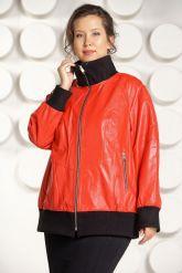 Кожаная куртка красного цвета больших размеров. Фото 4.