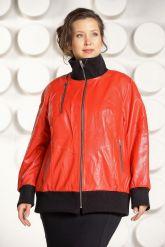 Кожаная куртка красного цвета больших размеров. Фото 1.
