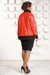 Кожаная куртка красного цвета больших размеров. Фото 2.