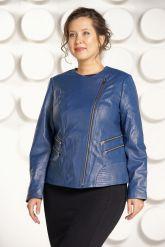Модная куртка больших размеров небесного цвета. Фото 2.