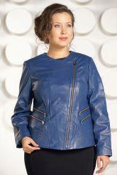 Модная куртка больших размеров небесного цвета. Фото 4.