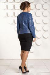 Модная куртка больших размеров небесного цвета. Фото 5.