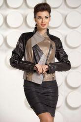 Комбинированная кожаная куртка для женщин. Фото 1.