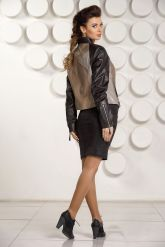 Комбинированная кожаная куртка для женщин. Фото 2.