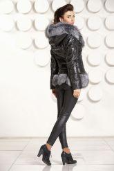 Молодежный кожаный пуховик с чернобуркой. Фото 7.