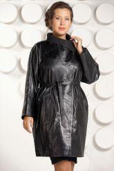 Модный кожаный плащ больших размеров. Фото 2.