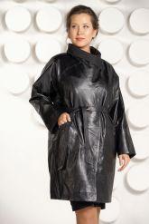 Модный кожаный плащ больших размеров. Фото 3.