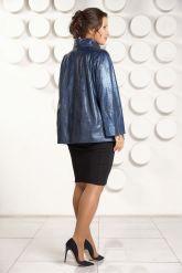 Синяя кожаная куртка для женщин. Фото 2.