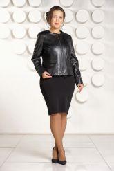 Короткая кожаная куртка для женщин черного цвета. Фото 2.