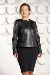 Короткая кожаная куртка для женщин черного цвета. Фото 3.