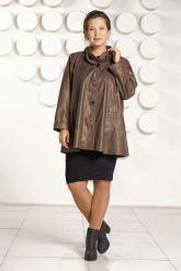 Кожаная куртка больших размеров с оригинальным воротом. Фото 1.