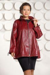 Бордовая кожаная куртка больших размеров. Фото 2.