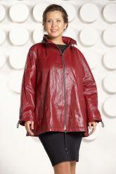 Бордовая кожаная куртка больших размеров. Фото 3.