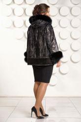 Демисезонная кожаная куртка с  капюшоном больших размеров. Фото 2.