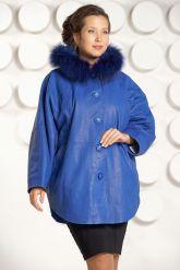 Зимняя кожаная куртка больших размеров цвета индиго. Фото 2.