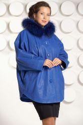 Зимняя кожаная куртка больших размеров цвета индиго. Фото 3.