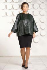 Изумрудная кожаная куртка больших размеров. Фото 1.