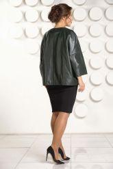Изумрудная кожаная куртка больших размеров. Фото 4.