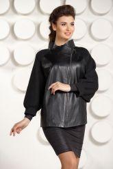 Кожаная куртка с трикотажными рукавами. Фото 2.