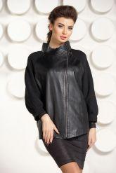 Кожаная куртка с трикотажными рукавами. Фото 3.