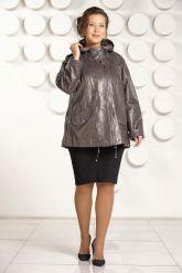 Кожаная куртка больших размеров цвета капучино. Фото 1.
