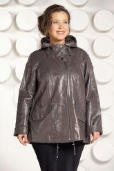 Кожаная куртка больших размеров цвета капучино. Фото 2.
