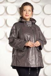 Кожаная куртка больших размеров цвета капучино. Фото 3.