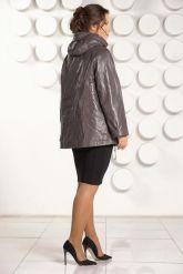 Кожаная куртка больших размеров цвета капучино. Фото 4.