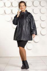 Классическая кожаная куртка больших размеров для женщин. Фото 1.