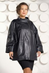 Классическая кожаная куртка больших размеров для женщин. Фото 3.