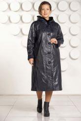 Кожаное пальто с капюшоном больших размеров. Фото 1.