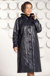 Кожаное пальто с капюшоном больших размеров. Фото 2.