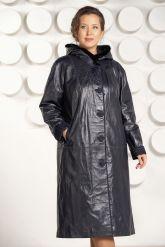 Кожаное пальто с капюшоном больших размеров. Фото 3.