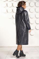 Кожаное пальто с капюшоном больших размеров. Фото 4.