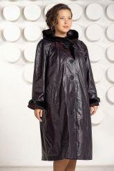 Длинное кожаное пальто с капюшоном. Фото 2.