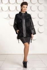 Стильная кожаная куртка с мехом астраган. Фото 1.