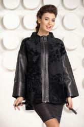Стильная кожаная куртка с мехом астраган. Фото 3.