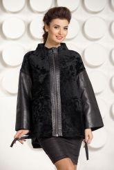 Стильная кожаная куртка с мехом астраган. Фото 4.